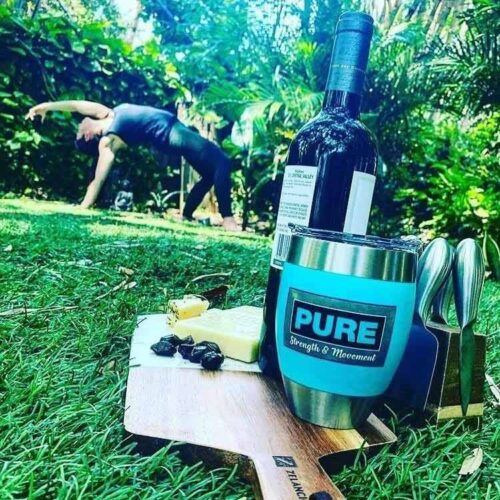 Wine Down Wednesday Yoga fitness class at Pure Strength and Movement